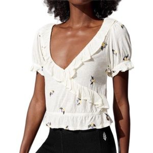 Free People Full Bloom Embroidered Ruffle NWT